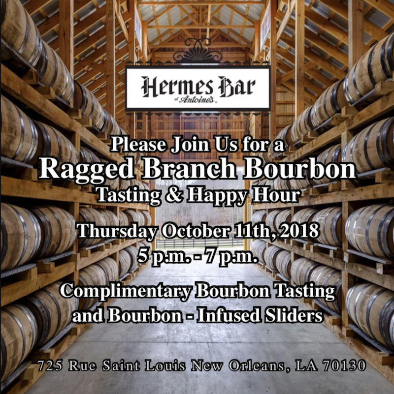 Calling all Bourbon drinkers to the Hermes Bar on Thursday October 11th, 2018 from 5-7 p.m.!